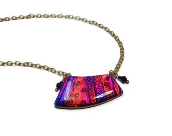 Modern Statement Purple Fuchsia Necklace- polymer clay Pendant Faux Dichroic Necklace Gifts for Her Birthday Graduation