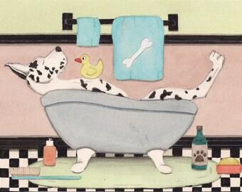 Harlequin great dane fills tub at bath time / Lynch signed folk art print