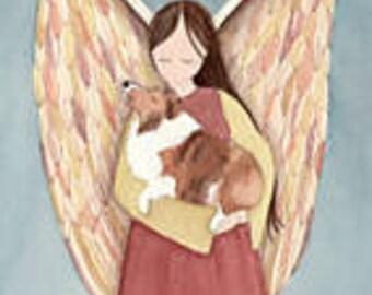 Shetland sheepdog (sheltie) in angel's arms / Lynch signed folk art print