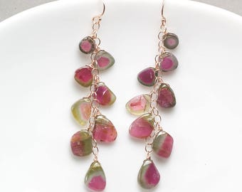 Watermelon Tourmaline earrings, Tourmaline slice cluster earrings, 14k Rose Gold filled earrings, Gift for Her, October Birthstone