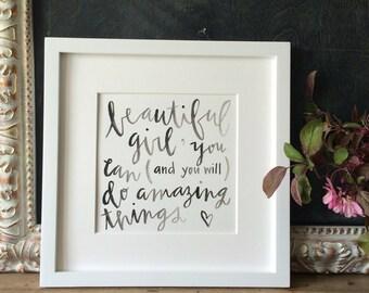 Beautiful girl framed watercolor