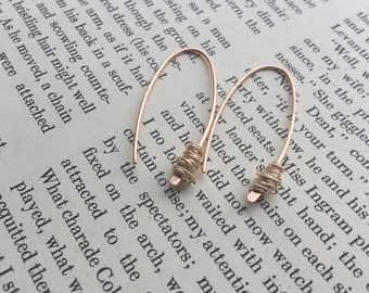 Hammered Copper Wire Earrings with Brass Wire Wrap