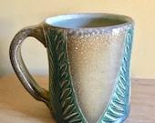 Green and Yellow Carved Mug