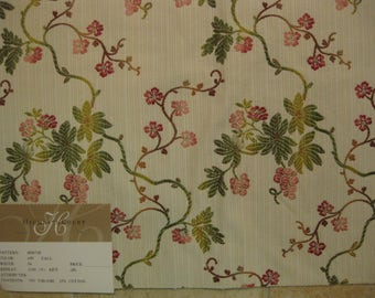 Small Embroidered Floral Vine Lampas 180671H Upholstery Highland Court Designer Fabric Sample