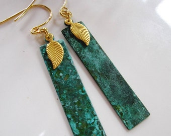 Verdigris Patina Rectangle Earrings, Geometric Earrings, Art Deco Earrings, Gold Leaf Charm, Bohemian, Vintage style, Gardendiva