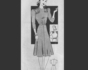 Vintage 40s Gathered Shirred Shoulder Day Dress Sewing Pattern 9576 B36