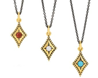 Isolde Necklace Yellow Gold Gemstone Pendant