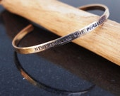 Hammered Cuff, Nevertheless She Persisted Bracelet, Thin Stacking Cuff, Feminist, Statement Bracelet