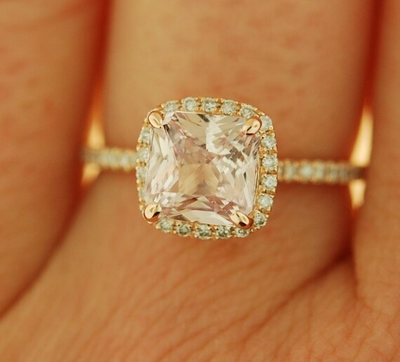 Ice Peach Sapphire Ring 14k Rose Gold Diamond Engagement Ring 1.9ct Square Cushion Ice Peach sapphire