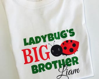 Big Brother Ladybug Shirt or Bodysuit - Personalized Sibling Shirt