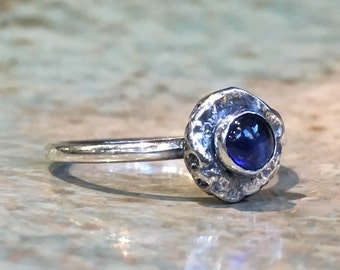 Blue sapphire ring, sterling silver ring, birthstone ring, stacking ring, simple ring, dainty ring, delicate ring, stone ring - Fancy R2487