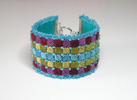 "FABRIC CUFF BRACELET: ""Aqua Mosaic"" Needlepoint and beaded art piece.  Medium. Handmade."