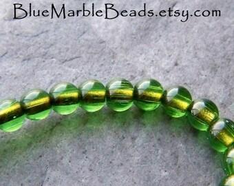 Tassel Beads, Pantone 2017, Green Glass Bead, Round Beads, Small Beads, 4mm, Gold Bead, Vintage Bead, Full Strand, 125 Beads, 16 Inch Strand