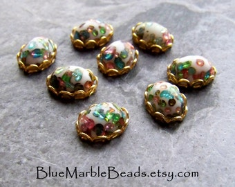 Vintage Cabochon, Cabochon in Settings, Multi Colored, Japanese, Oval Glass Cabochons, Brass Finding, Brass Charm, Cherry Brand, 8 Cabochons