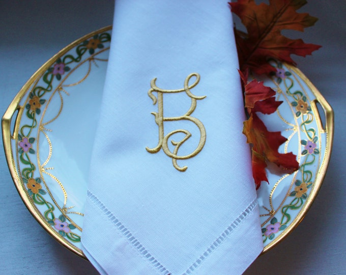 Twenty Four Monogrammed Linen Dinner Napkins
