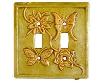 Moth & Butterfly Ceramic Double Toggle Light Switch Cover in Apricot Gold Glaze