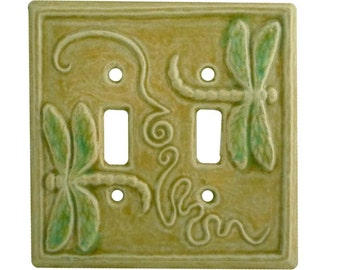 Dragonflies Ceramic Light Switch Cover- double toggle in tan emerald glaze