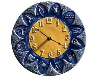 Zodiac Ceramic Wall Clock in Blue & Yellow Glaze (11 inches in diameter)