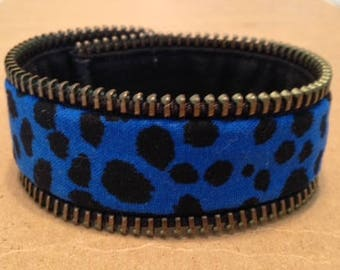 Zipper Bracelet - black blue - reversible