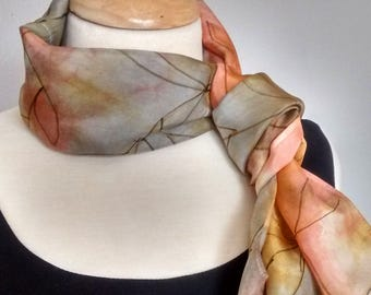 "Hand Painted Silk Infinity Scarf, 8x54"", Shibori Dyed in Gold, Copper, Rose and Grey with Leaf Drawing in Black"