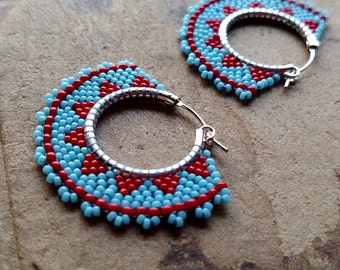 Tribal Hoop Earrings, Beaded Boho Hoops, Blue and Red Earrings, southwest style