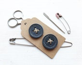 Big leather handmade borrower BUTTONs on gift tag. Perfect for all knitwear. 30mm X 2 in moody blue