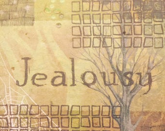 JEALOUSY - Papers of Intention - handmade paper art full of intentions - to be burned or buried with attached prayer