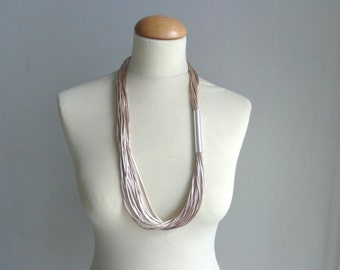 Cream silver tube necklace, long beige necklace