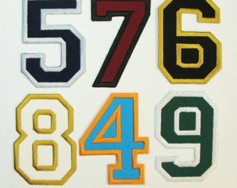Sports Numbers 3 or 4  Inch Embroidered Appliques- Choose your number, number height  and colors
