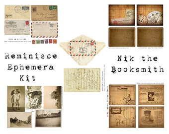 Digital Vintage Journal Ephemera Kit - Reminisce - Perfect for journals, cards, scrapbooking (5 hi-res images for immediate download)