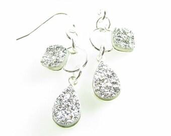 Silver Druzy Earring, Signature Earrings, Gemstone Earring