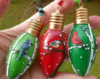 Three Bird OOAK Recycled Christmas Ornaments Made from Polymer Clay and Recycled Light Bulbs