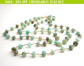 20% Off Sale Peruvian Blue Opal Strand Necklace, Rosary Style, Gold, Mint Green, Double Strand, Wire Wrapped