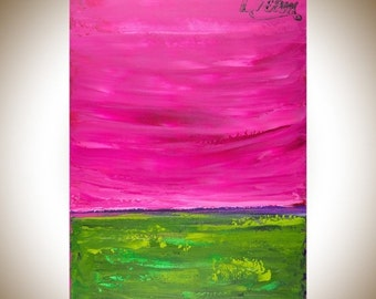 """Dream painting abstract art large wall art canvas art magenta purple green home decor wall decor gift for friends """"Dream Big"""" by qiqigallery"""