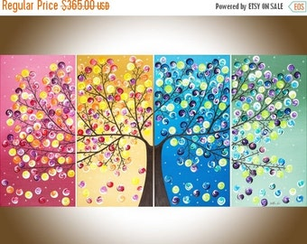 """Colorful Abstract painting acrylic landscape Painting four seasons tree Canvas art """"365 Days of Happiness"""" by qiqigallery"""