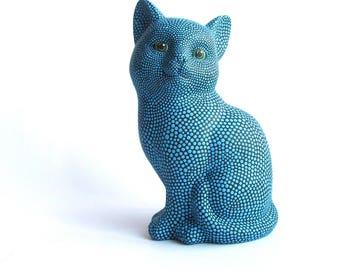 Blue Cat: Hand Painted Cat Figurine Kitty Cat Art Ceramic Cat Figurine