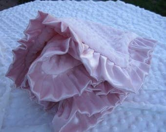 SALE Double minky baby girl lovey blanket  with ruffle in a soft pink can be personalized