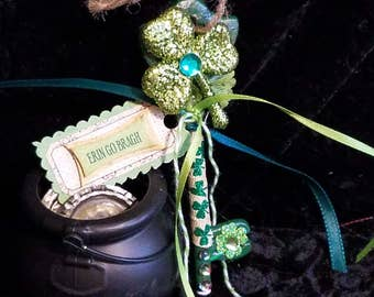 LUCK KEY Fairy Shamrock Clover Leprechaun Magic Tool w/Organza Bag and Scroll