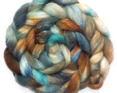 Roving Organic Polwarth and Bombyx Silk Handdyed Combed Top - Duck Eggs, 4.0 oz.