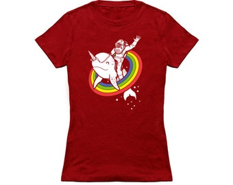 Epic Combo #24 diver riding a narwhal through a rainbow  womens T-shirt