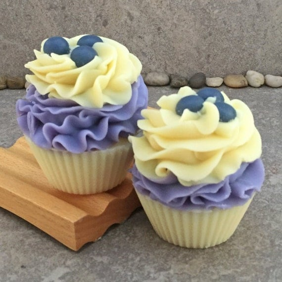 Blueberry Lemon Verbena Scented Bakery Cupcake Soap  - Cold Process