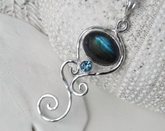 Labradorite Sterling Silver Necklace -  Teal Green Labradorite and London Blue Topaz Silver Swirl Necklace - Mermaid Dreams - Ocean Inspired