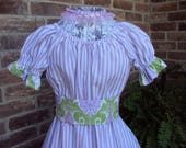 RESERVED FOR MHutch Prairie Party Dress   Lavender stripe  Party dress, size 8  Victorian , So. Belle , Civil War dress, Halloween costume
