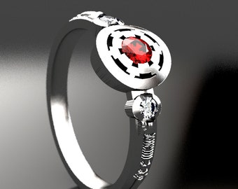 Empirial Star Wars Engagement Ring in Silver, Palladium, or Gold, Ruby & Moissanite Engagement Ring, Lightsaber Star Wars Wedding Ring