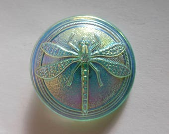 Vintage Czech Green AB with Dragonfly 30mm Glass Button (1)