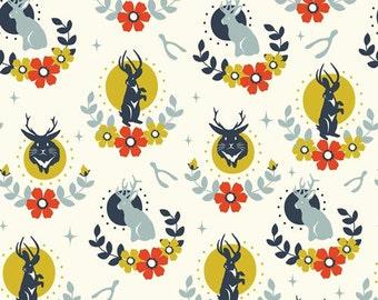 JACKALOPE CREAM 100% Cotton ORGANIC Quilt Fabric by the Yard, Half Yard or Fat Quarter Tall Tales Birch Fabrics
