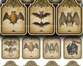 40% OFF SALE VICTORIAN Bats - Digital Printable Collage Sheet - Mini Vampire Bat Hang Tags, Small Vintage Distressed Halloween Tags, Instant