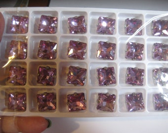 Lot of 2 14mm Provence Lavender Square Shaped Chinese Rhinestones in Sew on Settings