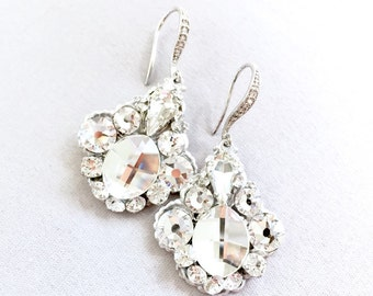 Rhinestone Bridal Earrings, Swarovski Bridal Earrings, Rhinestone Wedding Earrings, Crystal Wedding Earrings, Crystal Statement Earrings