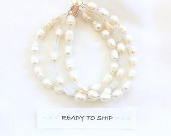 RTS Ivory FRESHWATER Pearl Bracelet, Bridal Bracelet, Pearl Bridal Bracelet, Wedding Cuff, Pearl wedding bracelet, freshwater pearl bracelet
